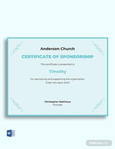 church sponsorship certificate template