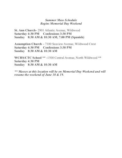church summer schedule template