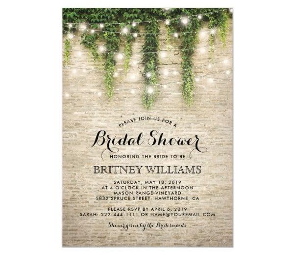 church wedding bridal shower invitation