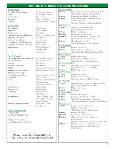 church weekly mass schedule template