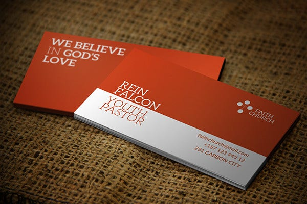 church youth business card