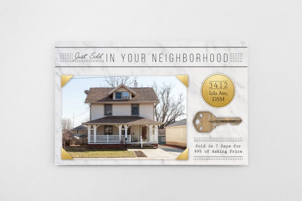 classic real estate just sold postcard