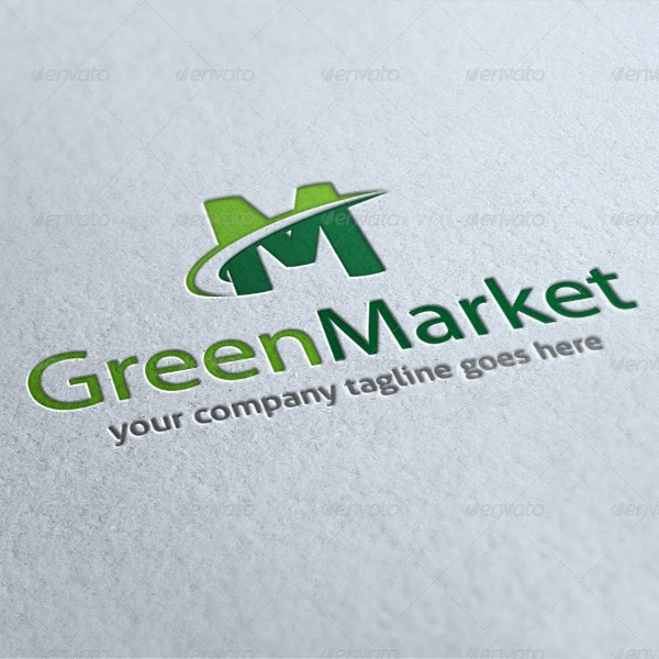clean green marketing logo layout