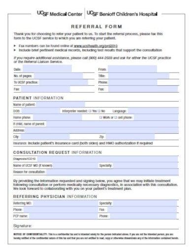 clean medical center referral form