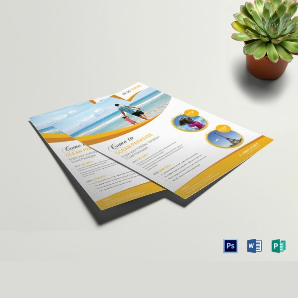 clean vacation travel flyer template
