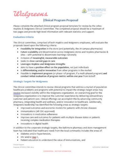 clinical program proposal template