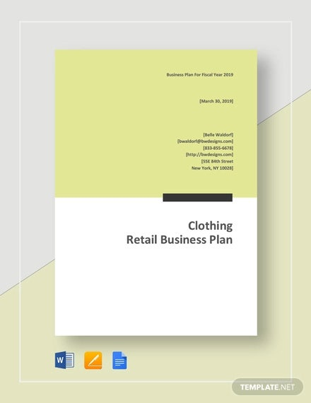 clothing retail business plan template