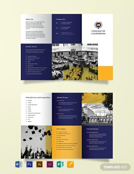 college event tri fold brochure template