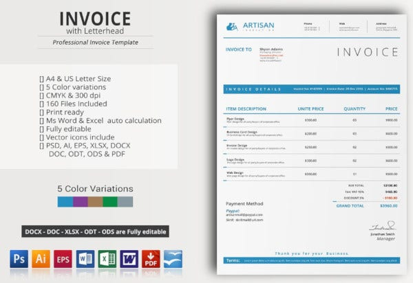 colorful creative invoice template