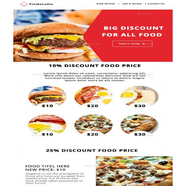 colorful restaurant email template