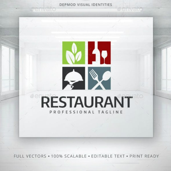 colorful tiles restaurant logo layout