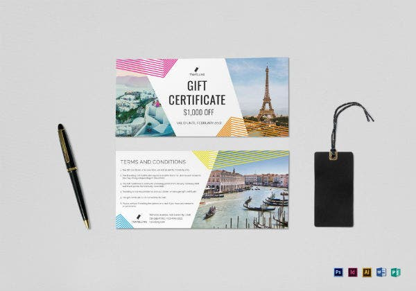 colorful travel gift certificate voucher template