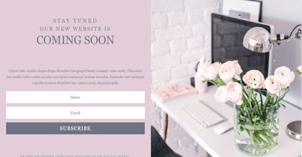 Coming Soon - newsletter compatible WordPress Template
