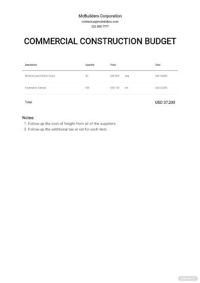 commercial construction budget template4