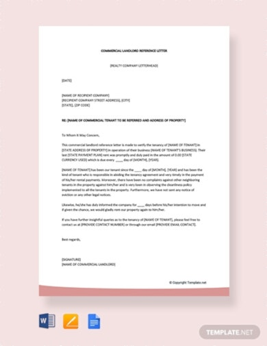 commercial landlord tenant reference letter template