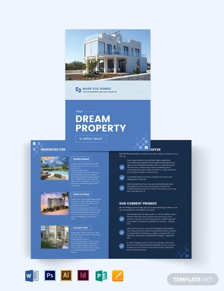 commercial realestate agent agency bi fold brochure template