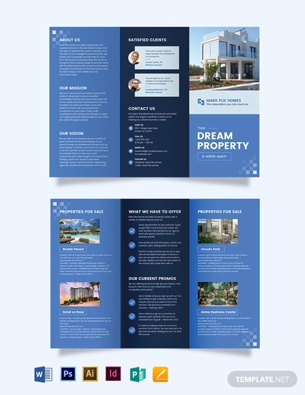 commercial realestate agent agency tri fold brochure template