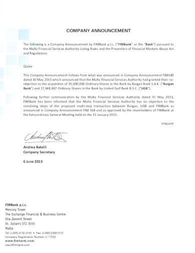 company announcement in pdf
