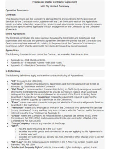 company contractor agreement template
