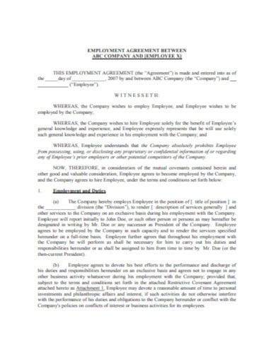 company employee agreement template