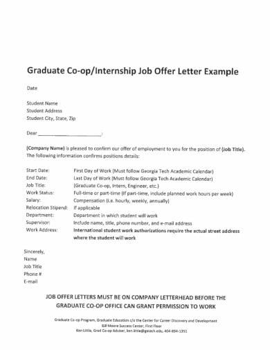 company internship job offer letter