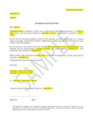 company internship offer letter template