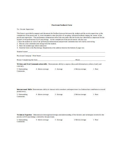 company-practicum-feedback-form-template