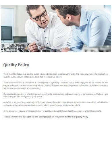 company quality policy sample
