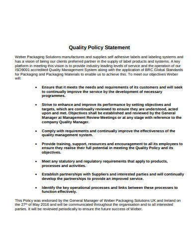 company quality policy statement