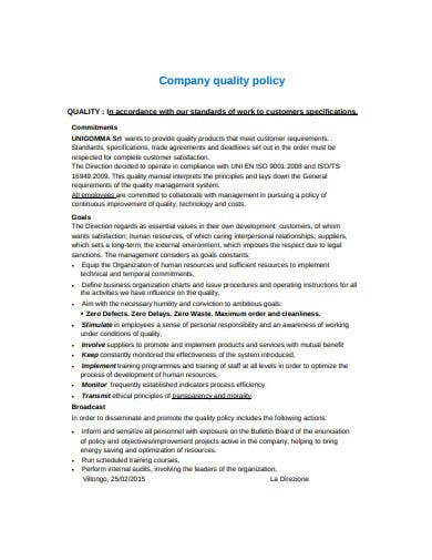 company quality policy template