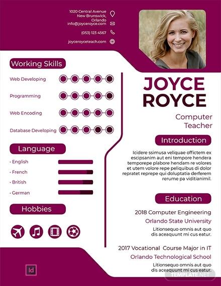 computer teacher infographic resume template