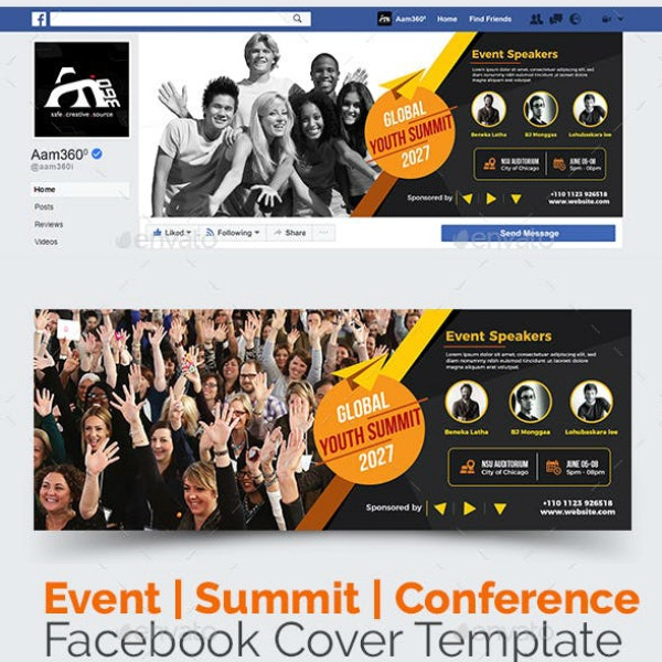 conference summit facebook cover template
