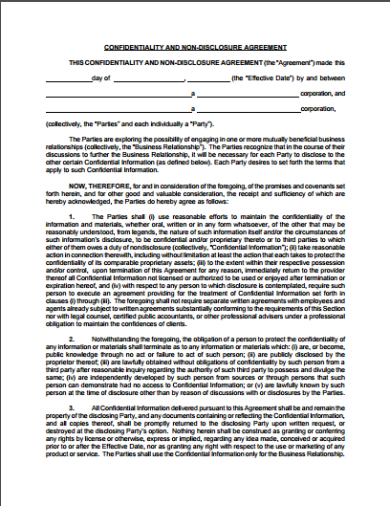 confidentiality and non disclosure agreement template
