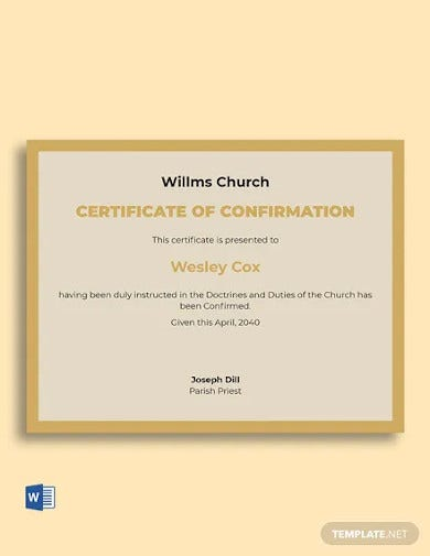 confirmation church certificate template