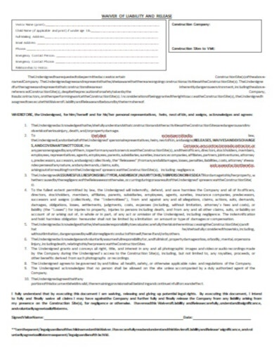 construction access liability release form template