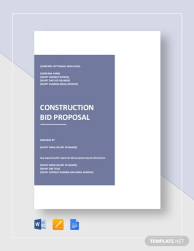 construction bid proposal template example