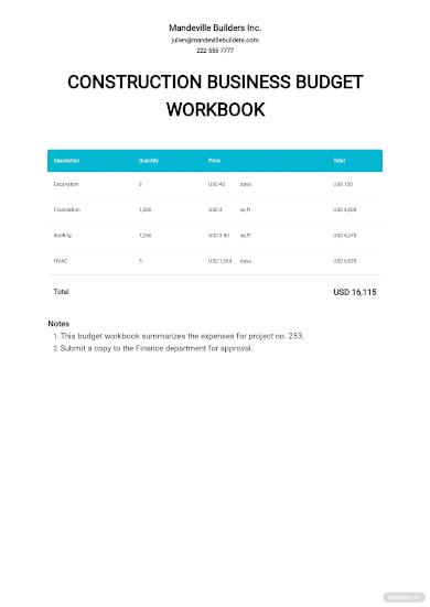 construction business budget workbook template
