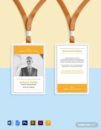 construction company id card template1