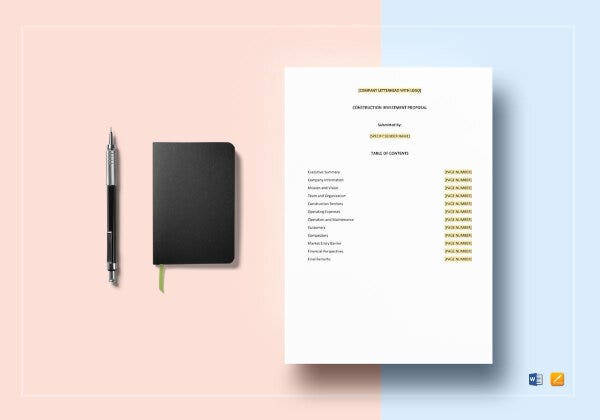 construction investment budget template