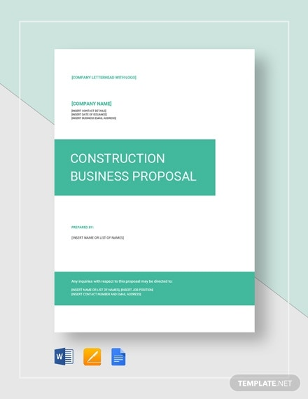 construction small business proposal template