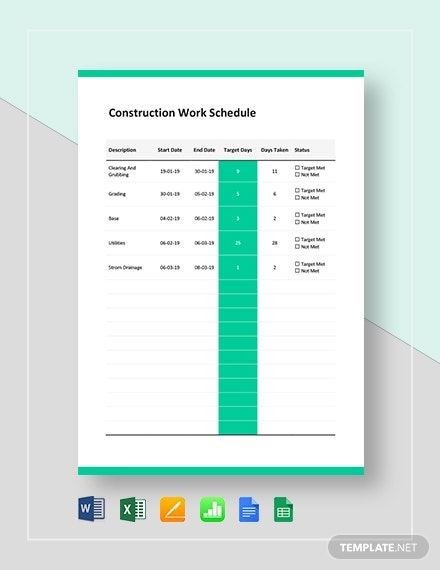 construction work schedule