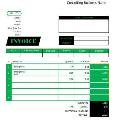 consulting business invoice template