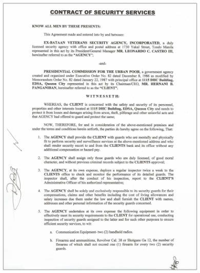 contract of security services template