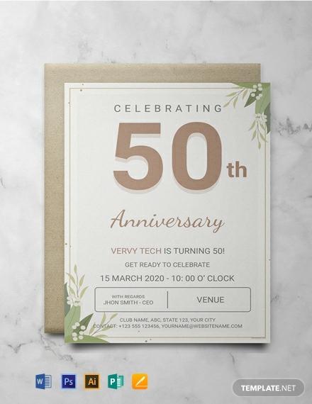 corporate anniversary event invitation template