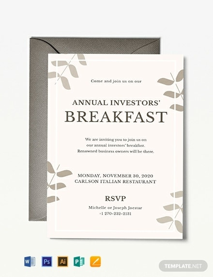 corporate breakfast event invitation template