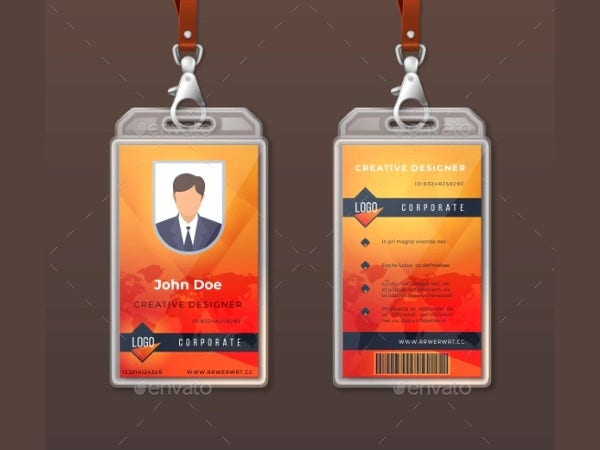 corporate company id card example