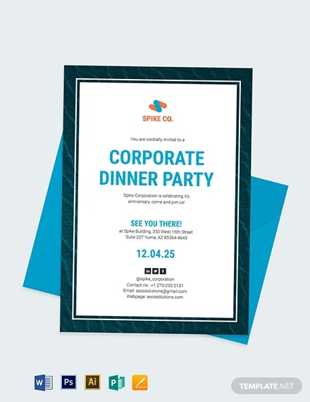 corporate dinner party event invitation template