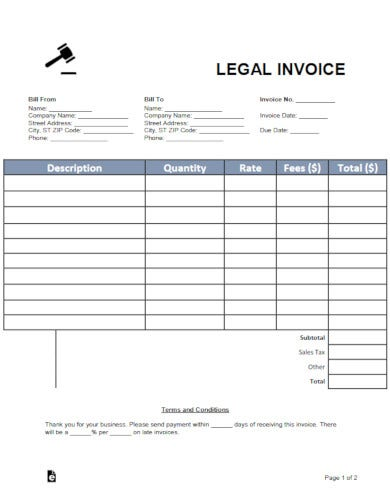 corporate law firm invoice template