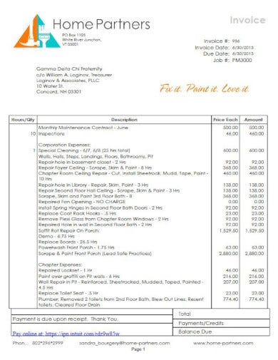 corporate painting expenses invoice