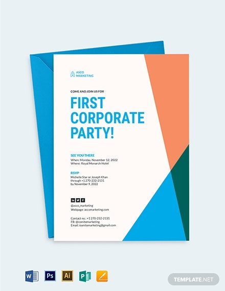 corporate party event invitation template